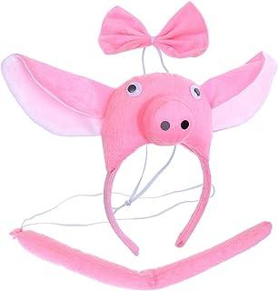 BESTOYARD Disfraz de Cerdo para Niños Diadema Animal Conjunto de Orejas Animal Cola y Pajarita Traje de Costume para Halloween Fiesta 3 Piezas Cerdo