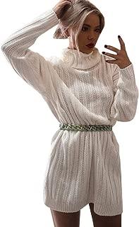 ◕。Winter Women Turtleneck Pullover Sweater Dress, Long Sleeve Sexy Slim Stretch Knee-Length Stripe Knit Sweater Dress