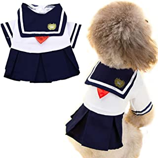 ANIAC Pet Navy Captain Suit Sailor Costume Student Uniform with Red Bow-Knot Cute Skirt Warm Clothes for Cats and Dogs