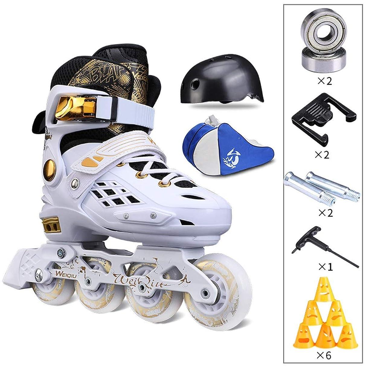 召集するスロープ水陸両用インラインスケート 調整可能なプロのインラインスケート靴、白い子供用単列スケート靴、黒人男性用および女性用スピードスケート靴 (Color : A, Size : M (EU 33-37))