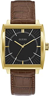 Guess Mens Analogue Quartz Watch with Leather Strap W1035G1