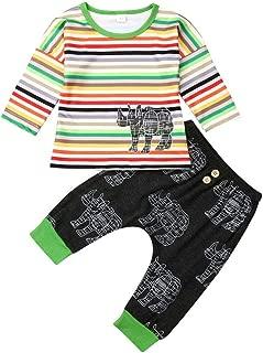 Newborn Toddler Baby Boy Girl Cute Clothes Set Long Sleeve Rainbow Striped T Shirt Tops Rhino Legging Pants Outfits