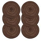 Set da 6 Tovagliette Tovaglioli resistenti al calore Tondo Tovagliette (6 pezzi, Marrone)