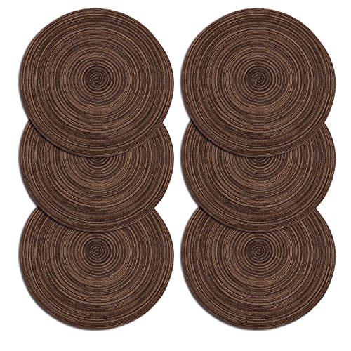 Juego de 6 manteles individuales de polipropileno trenzado con forma de cruz y algodón, de U'Artlines., algodón, marrón, redondo