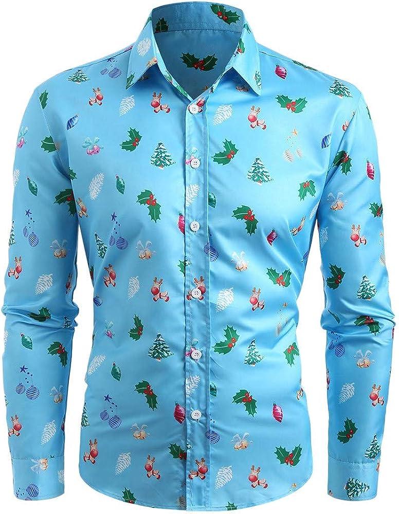 AKIMPE Men Casual Christmas Tree Printed Long Sleeve Turn Down Collar Shirt Top Blouse