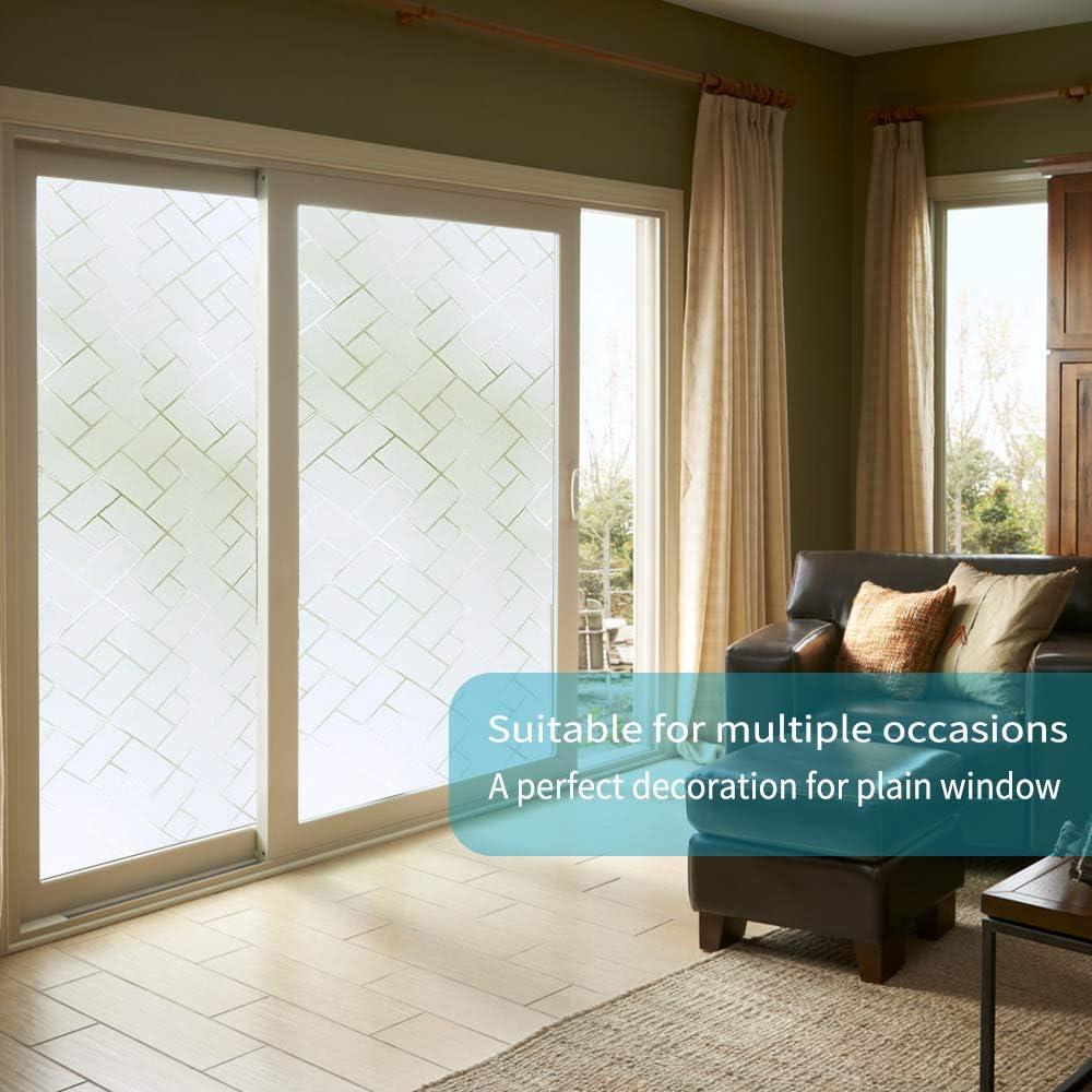 Pel/ícula de privacidad para ventana oficina, no adhesiva para casa est/ática cocina 44 x 200 cm dise/ño de cuadros