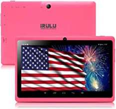 Tablet 7 inch Android 8.1 Quad Core 1024x600 iRULU Dual Camera WiFi Bluetooth 8GB Google Play Store Netflix Skype 3D Game GMS Certified -Pink