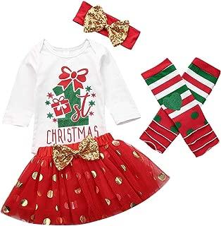 My 1st Christmas Clothes Set,Newborn Baby Girl Xmas Long Sleeve Romper Bodysuit+Tutu Skirt+Leg Warmers+Headband 4Pcs Outfits