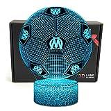 Deal Best football forme 3d illusion optique intelligent 7 couleurs led night light lampe de table avec câble d'alimentation usb olympique de marseille