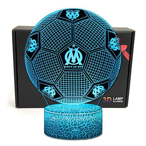 Deal Best football forme 3d illusion optique intelligent 7 couleurs led night light lampe de table avec câble dalimentation usb olympique de marseille
