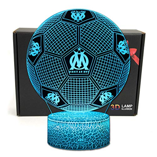 Deal Best Football Forme 3D Illusion Optique Intelligent 7 Couleurs LED Night Light Lampe de Table...