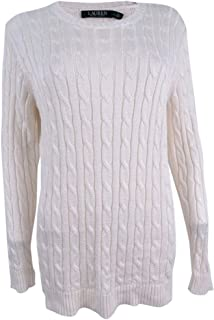 Ralph Lauren Lauren Womens Crew Cable Knit Pullover Sweater Ivory L