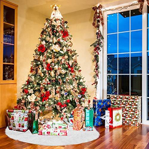 PERFETSELL Baumdecke Weihnachtsbaum 122cm Durchmesser Rund Christbaumdecke Weihnachtsbaumdecke Plüsch Weiß Tannenbaum Christbaum Rock Weihnachtsbaum Rock Unterlage Ornament Dekoration für Weihnachten