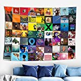 Rappers Album Cover Collage Tapestry Wall Hanging Art Tapestries with Hooks for Bedroom Living Room Dorm Decoration 60x40 Inch