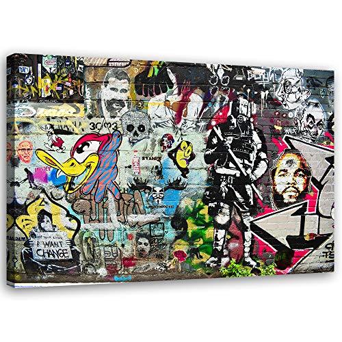 Feeby. Wandbild - 1 Teilig - 80x120 cm, Leinwand Bild Leinwandbilder Bilder Wandbilder Kunstdruck, Graffiti, Wand, Multicolor