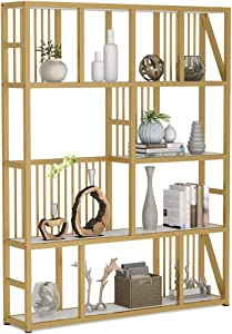 Tribesigns 5-Shelf Gold Bookshelf, Modern 5-Tier Etagere Bookcase Display Shelf Storage Organizer for Home Office Living Room