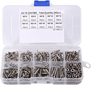 مجموعة أدوات متنوعة من مسامير وصواميل من الفولاذ المقاوم للصدأ برأس 340 قطعة M3