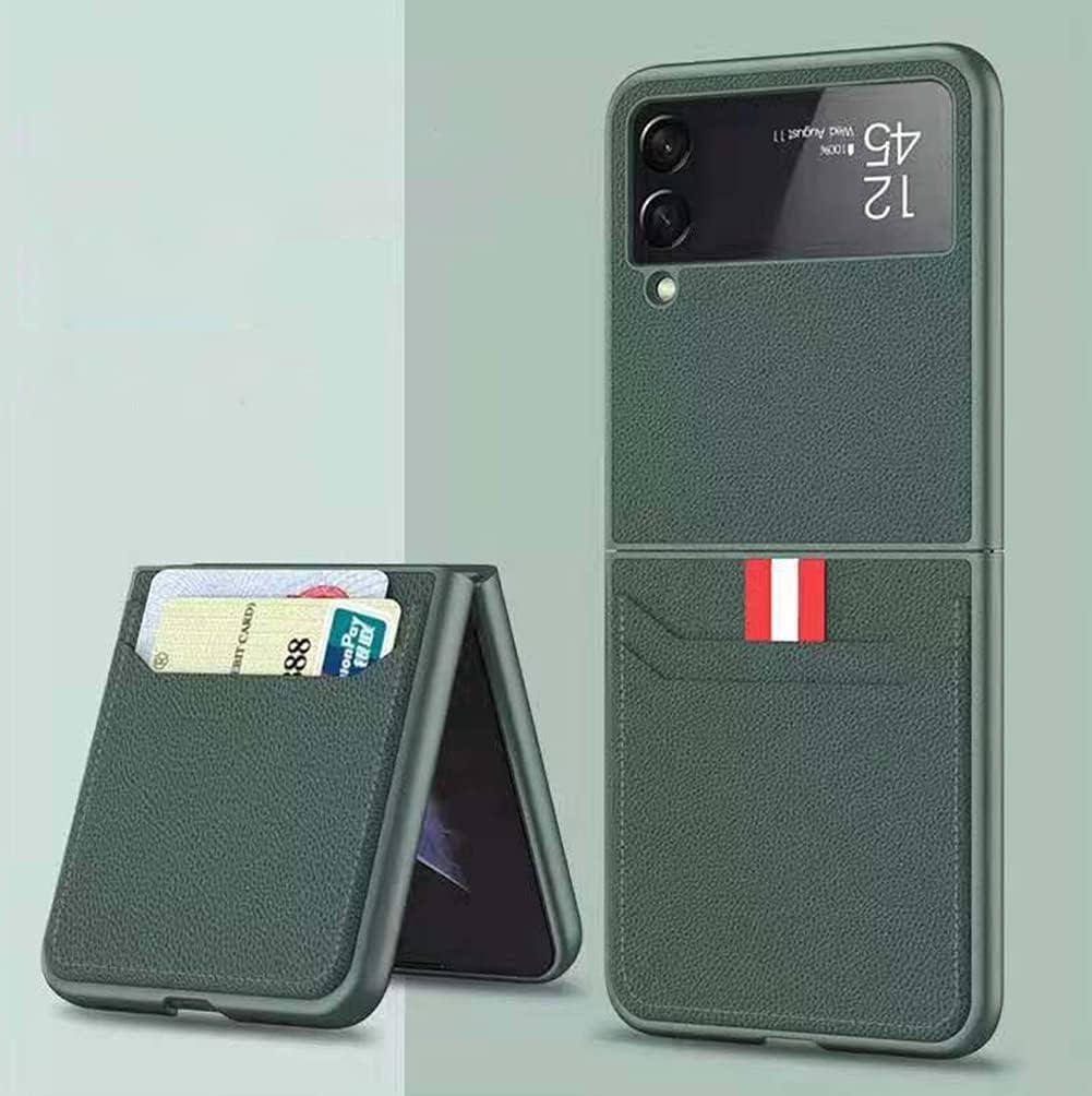 SHIEID Samsung Flip 3 Case, Galaxy Flip 3 5G Case with Leather Wallet Card Holder Phone Case Compatible with Samsung Galaxy Z Flip 3 5G, Dark Green