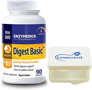 Enzymedica Digest Basic,Gentle Digestive Support, 90 Capsules Bundle with Lumintrail Pill Case