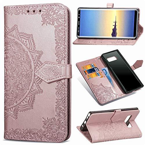 Abuenora Funda para Samsung Galaxy Note 8, Carcasa Libro con Tapa Flip Case Antigolpes Golpes Cartera PU Cuero Suave Soporte con Correa Cordel - Mandala Oro Rosa