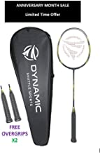Dynamic Shuttle Sports Premium Hyperion KV-100 Carbon Fiber Indoor/Outdoor Professional Badminton Racket - for Both Offensive and Defensive Players, Good for All Levels