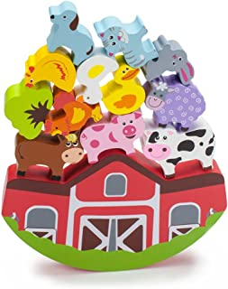 Imagination Generation Wooden Wonders Balancing Block Barnyard Playset (13 Pieces)