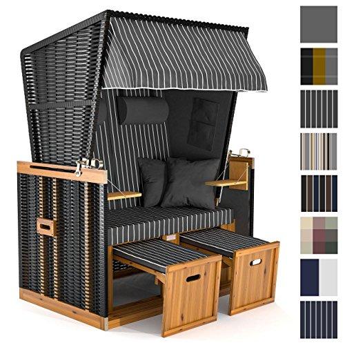 Sanzaro Strandkorb XL120 cm Deluxe Zweisitzer Holz und Poly-Rattan Volllieger 4 x Kissen klappbare Rückenlehne 2 Personen Grau Nadelstreifen