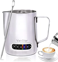 VanStarStainless Steel Milk Frothing Pitcher with Thermometer 20oz (600ml), Milk Coffee Cappuccino Latte Art Barista Pitc...