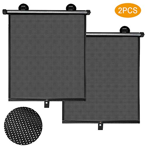 Winsall Auto Sun Shade - Car Sun Shade with 2Pcs Roller Sun Shade for Car Window, Retractable Car Sun Shade for Block Sun Glare and Heat