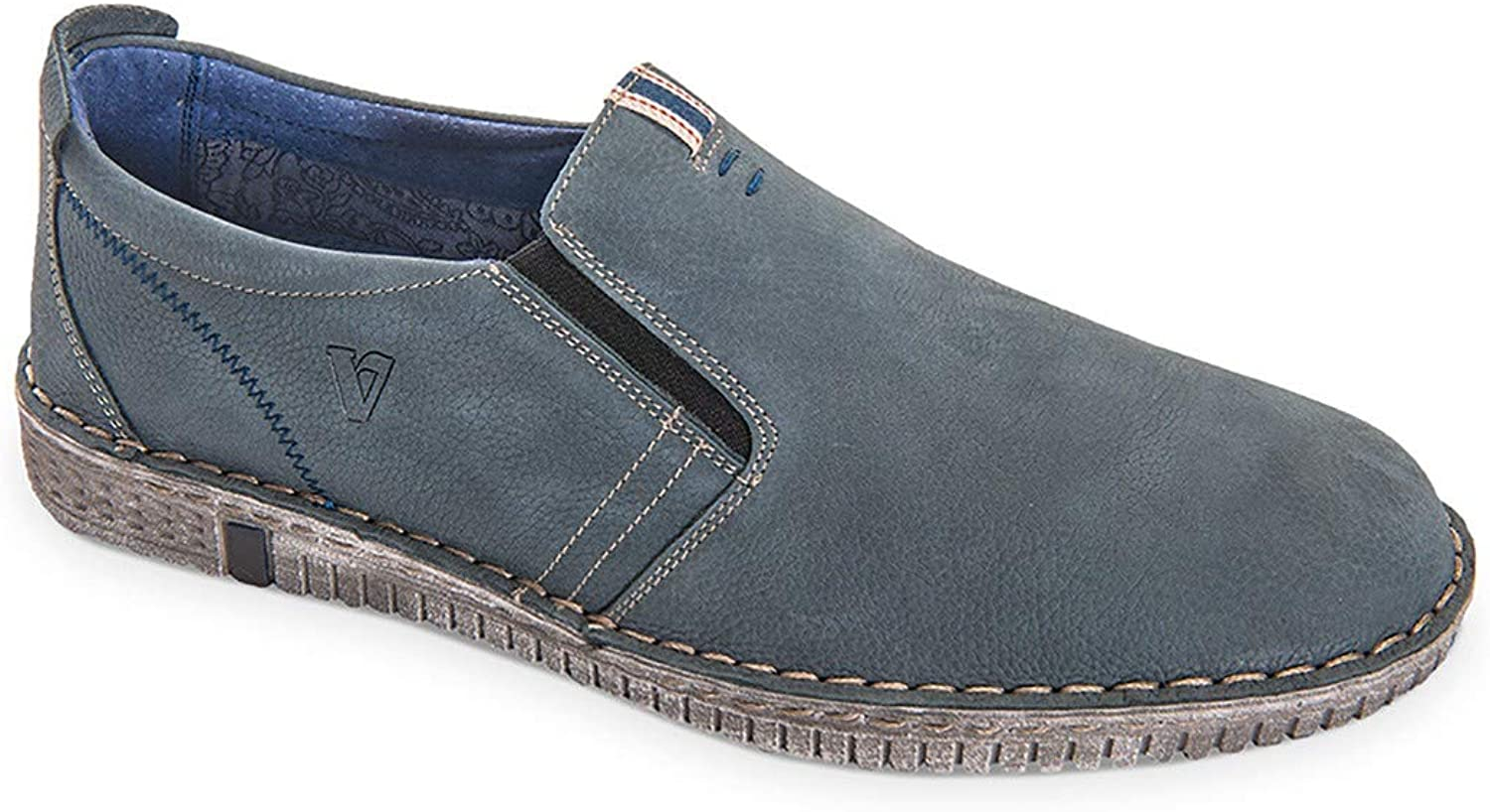 Vallegreen 13835 Mocassini Espadrilles College shoes Men in bluee Casual Leather
