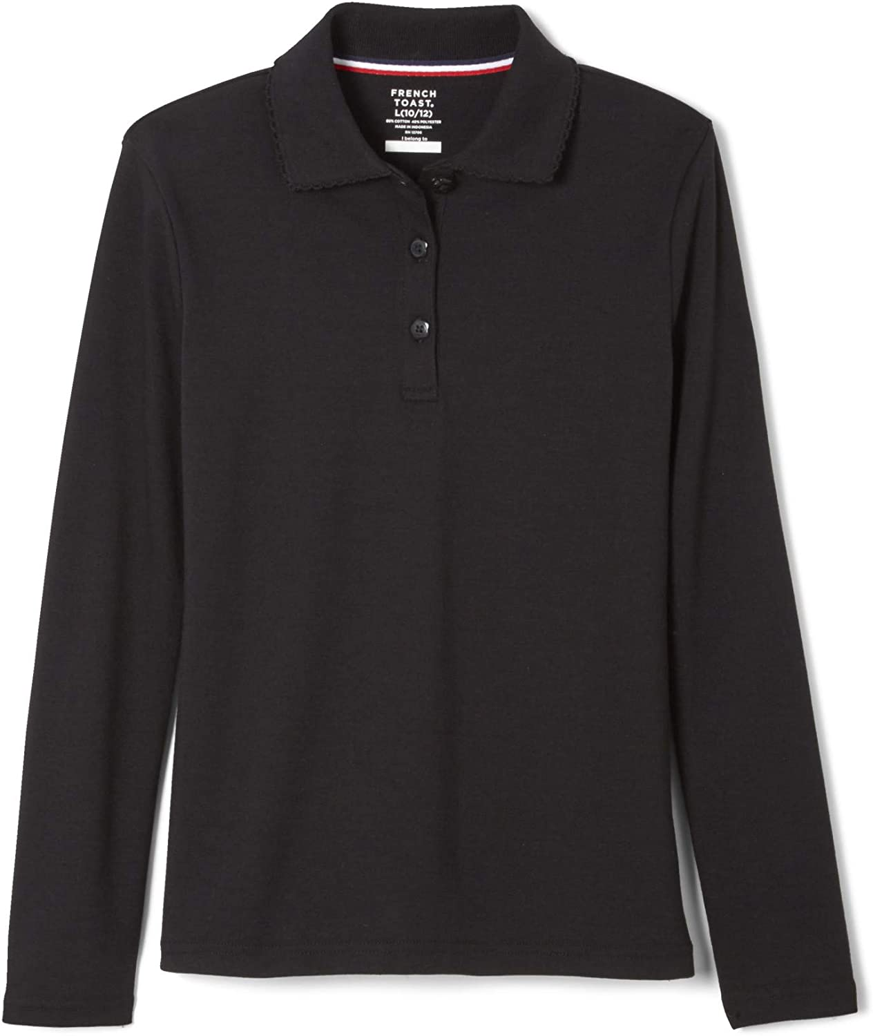 French Toast School Uniform Girls Long Sleeve Polo with Picot Collar, Black