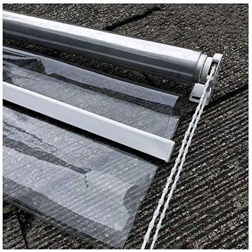 Estores Kiosko Pérgola Transparente Cortina Enrollable Persianas con Ajuste, Patio Impermeable Plástico Transparente Sombra Enrollable, Resistente Al Viento y Al Polvo (Size : 120×140cm/W×H)