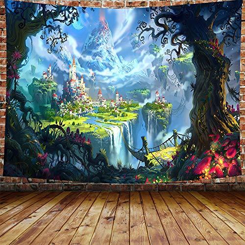 Poster, Psychedelischer Pilz-Wandteppich, bunt, surreal, abstrakt, digitale Kunst, Büro, elektrischer Wald 80×60 Inches Blau+Multi