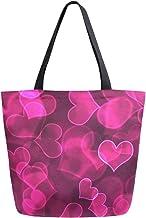 Mnsruu Handtasche / Schultertasche aus Segeltuch, für Damen, mit Griff, zum Einkaufen, Crossbody-Tasche, Hot Pink mit Herzmotiv, multifunktionale Tasche für Damen