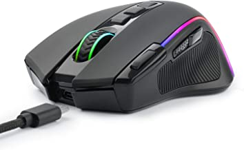Wireless Wired Gaming Mouse, RGB Backlit, Optical Mouse Ergonomic, 9 Buttons Programmable with Macro Recording Rapid-Fire ...