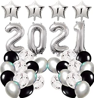 Fnbgl 2021 Balloons Decorations 32 Inch Silver 2021 Foil Number Balloon Party Supplies, New Years Eve Party Graduation Par...