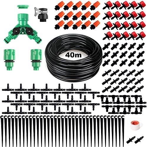Cozywind Kit per Irrigazione a Goccia Orto Micro Drip Irrigation Kit Set Irrigazione Goccia Automatica 40M 159Pcs Sistema di Irrigazione Automatico Giardino con Ugello Spruzzatore Sprinkler Regolabile