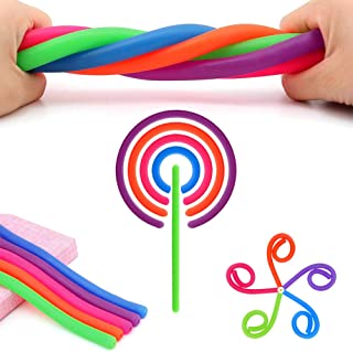 5PC Stretchy Strings/Noodles for Kid Fidget & Adult Anxiety.Colorful Tactile Sensory Stretch Toys for ADHD ADD OCD Autism Anxiety. Good for Stress Relief & Arm Muscle Train.Stretches from 11