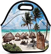 Travel Case Lunchbox with Zip Tropical,Caribbean Coast Holiday,spacious lunch bag sets for women