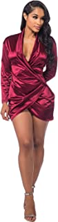 Sedrinuo Sexy Long Sleeve Deep V Neck Club Mini Dresses for Women