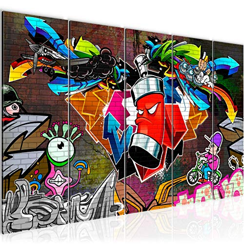 Runa Art Cuadro XXL Graffiti 200 x 80 cm Vistoso 5 Piezas - Made in Germany - 401855a