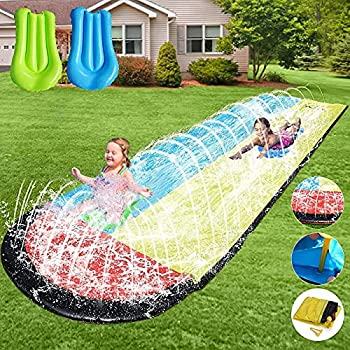 Slip and Slide for Kids Water Slide - 15.75ft Lawn Water Slides for Kids Backyard with 2 Crash Pad and Kids Sprinkler for Kids Outdoor Play Outdoor Water Toys for Kids Waterslide Slip and Slide