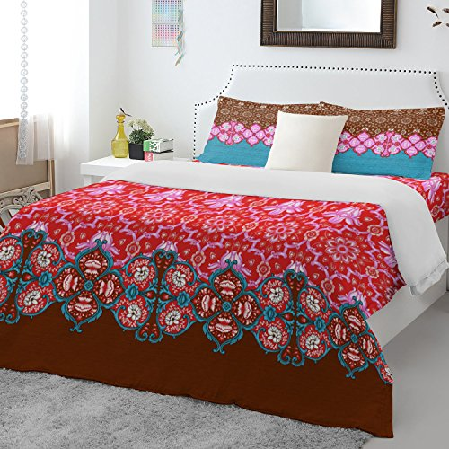 Spaces Atrium Plus 200 TC Cotton Double Bedsheet with 2 Pillow Covers - Red