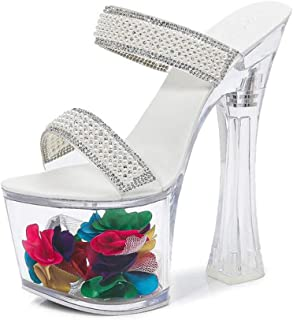 Women's OpenToe PlatformSandals,Summer Rhinestones Chunky Heel Shoes,for Dancing, Wedding, Birthday,Party,Clubbing,Etc.