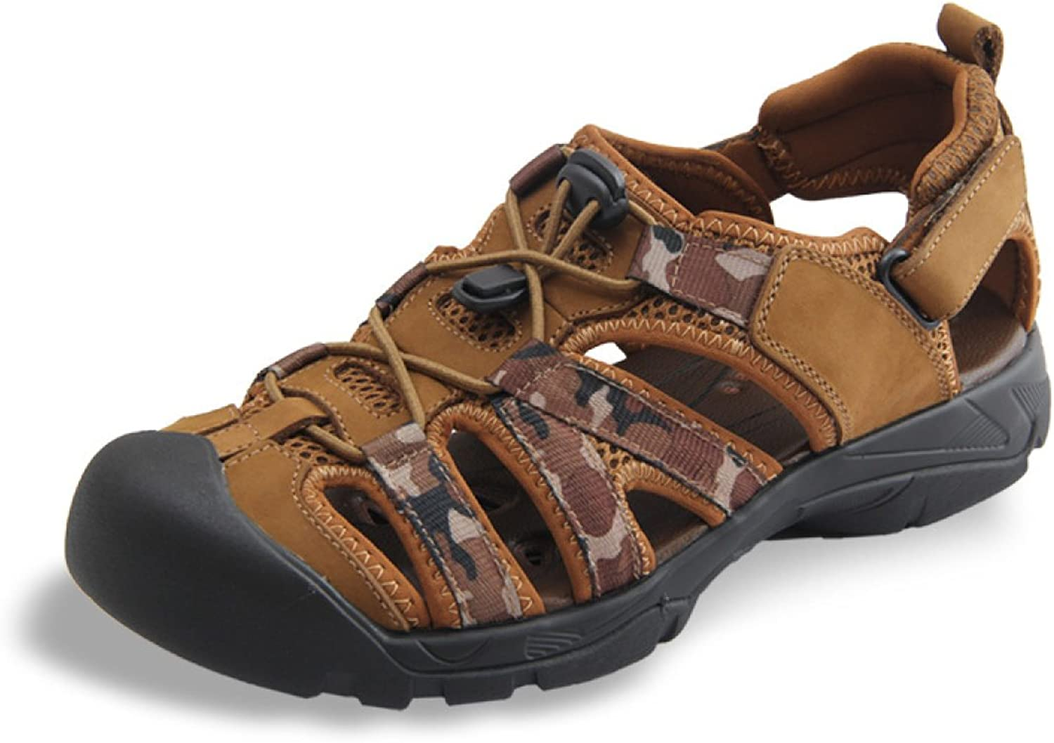 LXXAMens Beach Real Leather Summer Sandals Quick Drying Outdoor shoes Athletic Sneakers