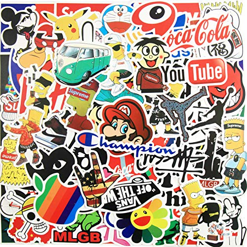 100pcs Fashion Brand Stickers, Cool Skateboard Stickers, Water Bottle Stickers Vinyl Waterproof Stickers Laptop Stickers for Teens Luggage Car Bike Bicycle