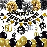 Decoración de 50 cumpleaños, 50 remolinos colgantes, pancarta de feliz cumpleaños, glob...