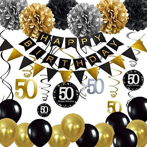 Decoración de 50 cumpleaños, 50 remolinos colgantes, pancarta de feliz cumpleaños, globos para decoración de suministros de fiesta de cumpleaños de 50 años