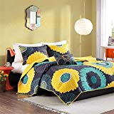 Mi-Zone Alice Full/Queen Girls Quilt Bedding Set - Yellow, Navy, Teal, Floral - 4 Piece Teen Girl Bedding Quilt Coverlets - Ultra Soft Microfiber with 100% Cotton Filling Bed Quilts Quilted Coverlet queen comforter set Dec, 2020