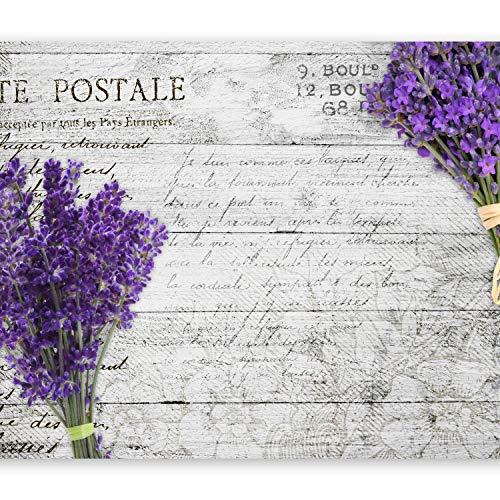 murando Fototapete Blumen Lavendel 300x210 cm Vlies Tapeten Wandtapete XXL Moderne Wanddeko Design Wand Dekoration Wohnzimmer Schlafzimmer Büro Flur Holz Bretter grau violett b-A-0156-a-a